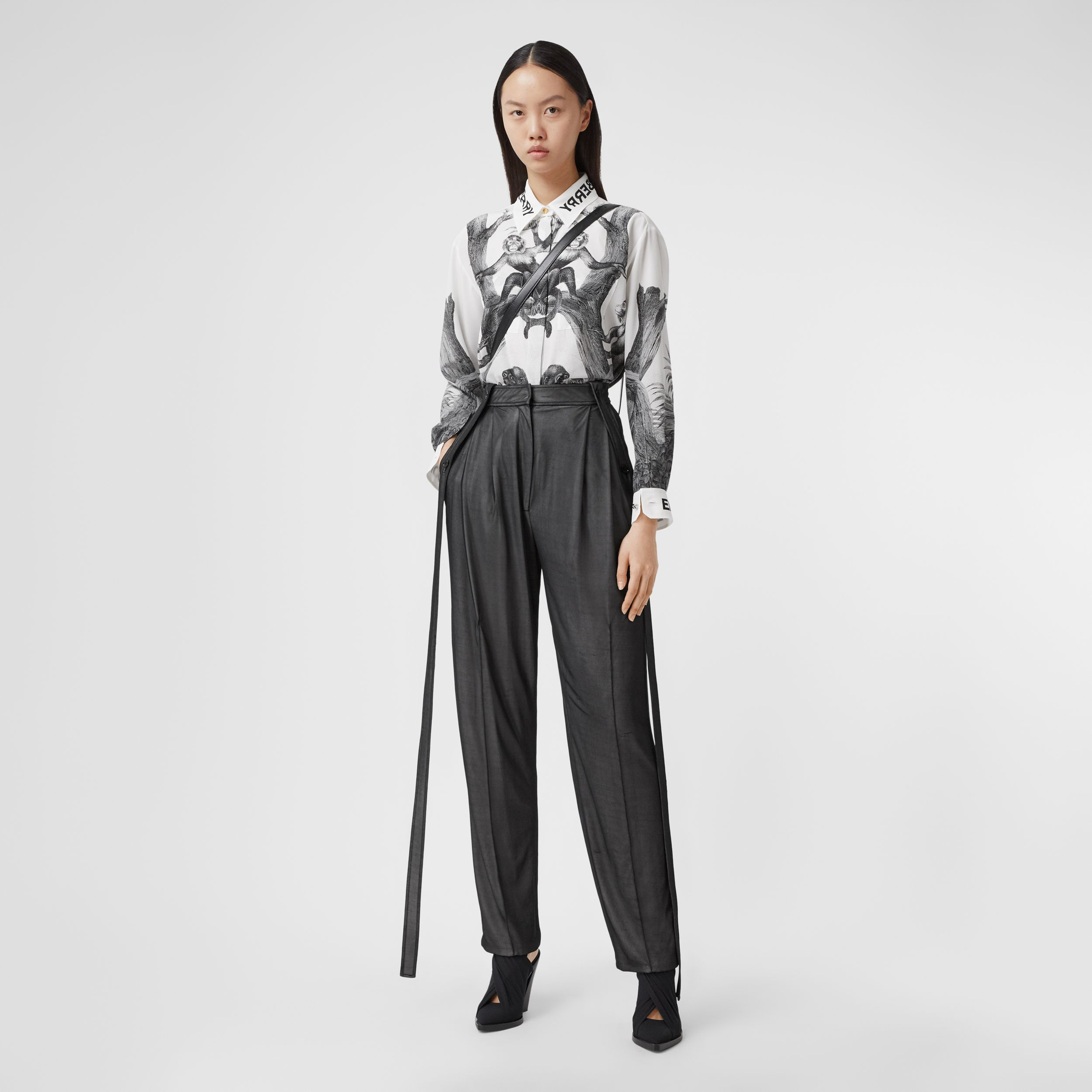 Montage Print Silk Shirt in Monochrome - Women | Burberry - 1