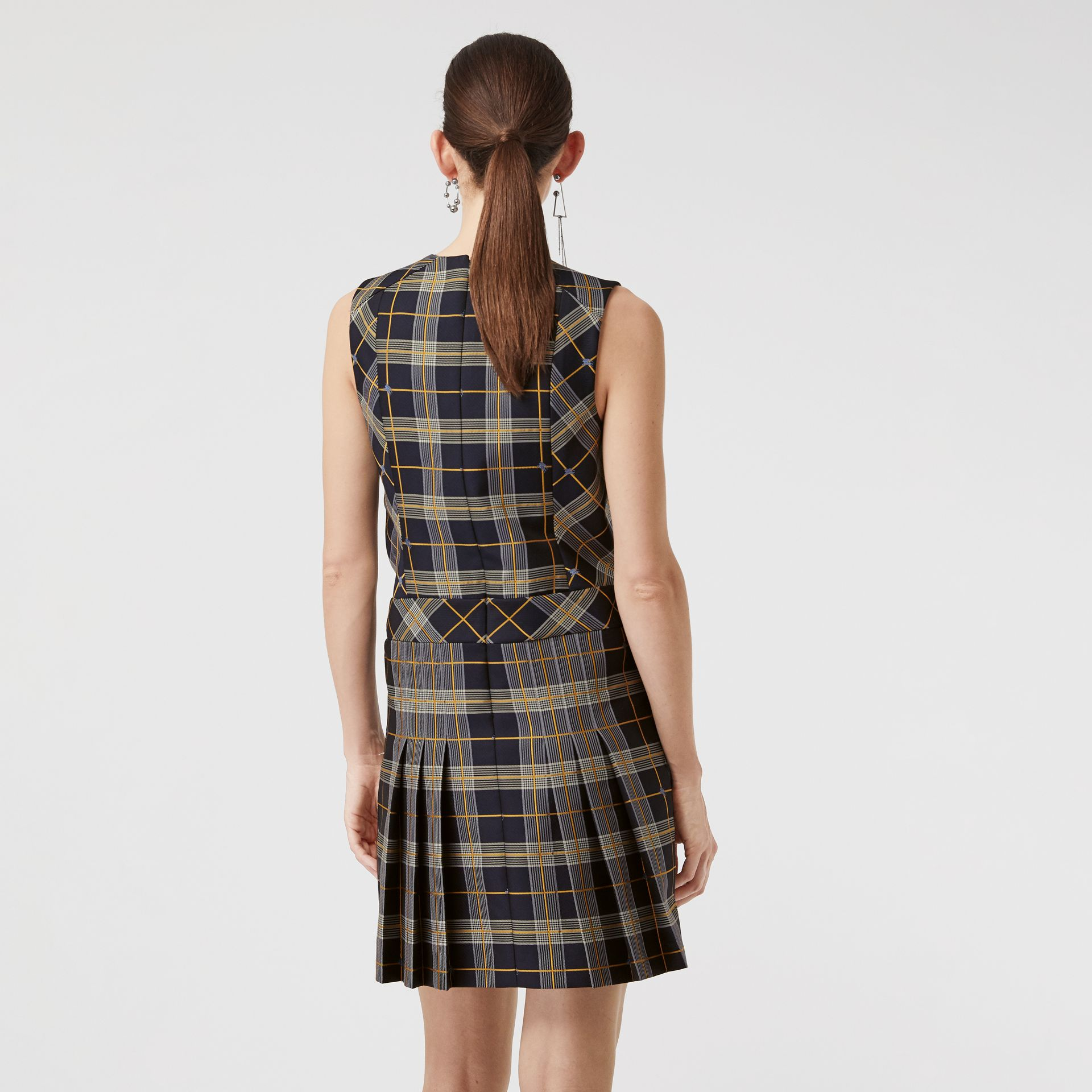 Sleeveless Pleat Detail Check Dress in Navy - Women | Burberry Australia - gallery image 2