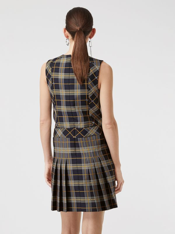 Sleeveless Pleat Detail Check Dress in Navy - Women | Burberry Canada - cell image 2