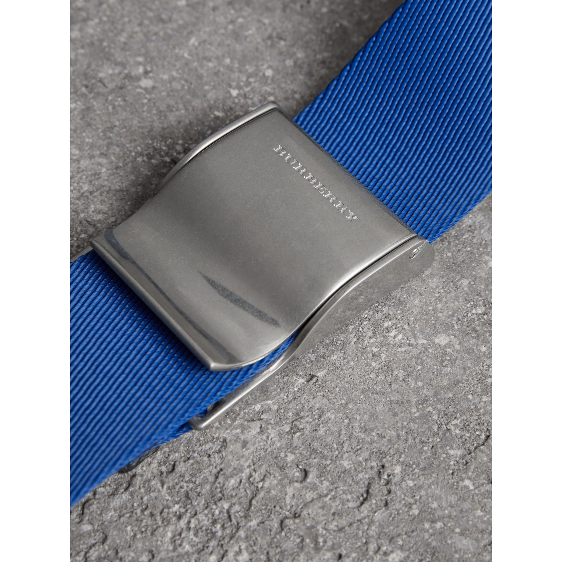 Plaque Buckle Nylon Belt in Dark Canvas Blue - Men | Burberry United Kingdom - gallery image 1