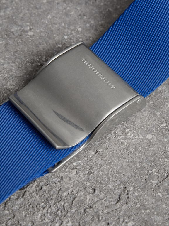 Plaque Buckle Nylon Belt in Dark Canvas Blue - Men | Burberry United Kingdom - cell image 1