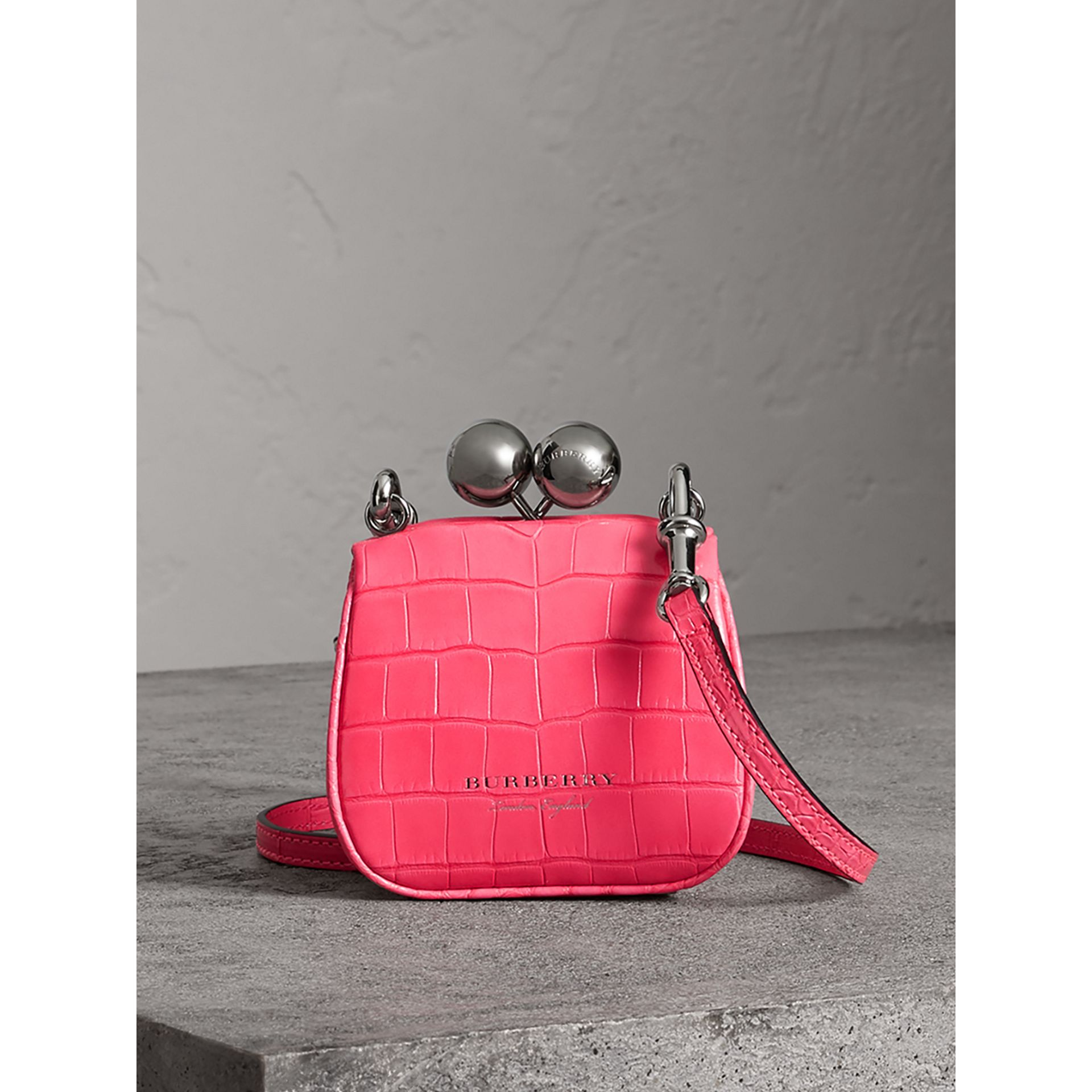 Mini Alligator Metal Frame Clutch Bag in Neon Pink - Women | Burberry Hong Kong - gallery image 0