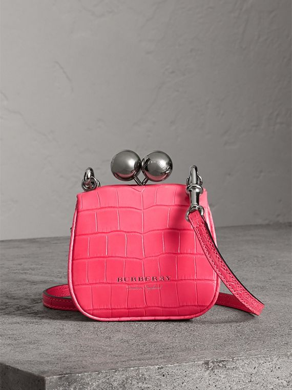 Mini Alligator Metal Frame Clutch Bag in Neon Pink