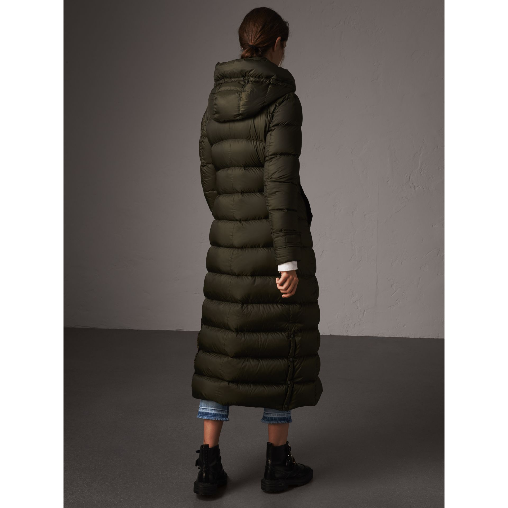 Detachable Hood Long Down-filled Puffer Coat in Olive - Women | Burberry - gallery image 3