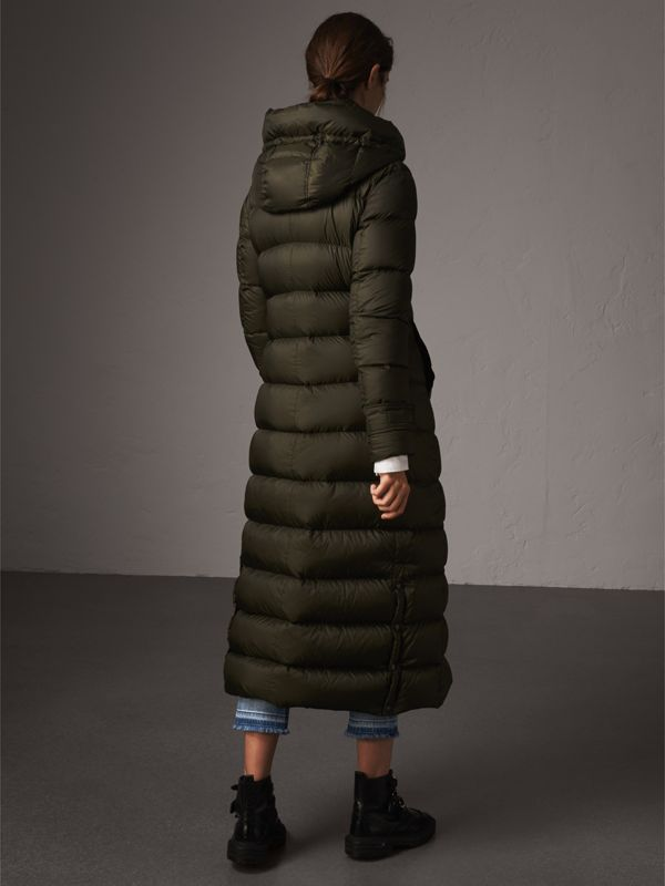 Detachable Hood Long Down-filled Puffer Coat in Olive - Women | Burberry - cell image 2