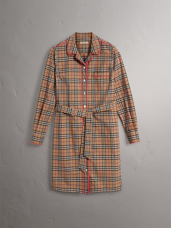 Contrast Piping Check Cotton Shirt Dress in Camel | Burberry - cell image 3