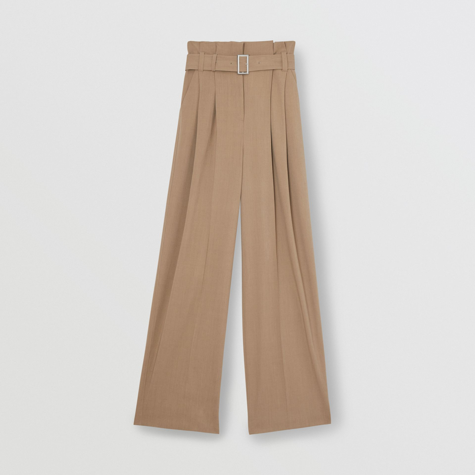 Wool Blend High-waisted Trousers in Warm Taupe - Women | Burberry - gallery image 3