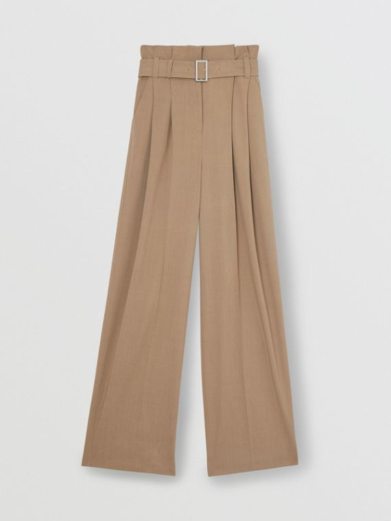 Wool Blend High-waisted Trousers in Warm Taupe