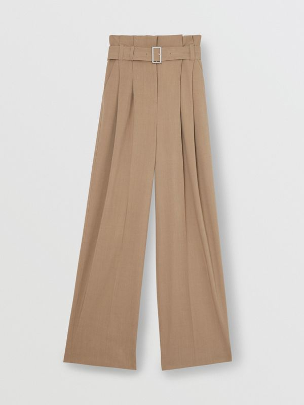 Wool Blend High-waisted Trousers in Warm Taupe - Women | Burberry Australia - cell image 3
