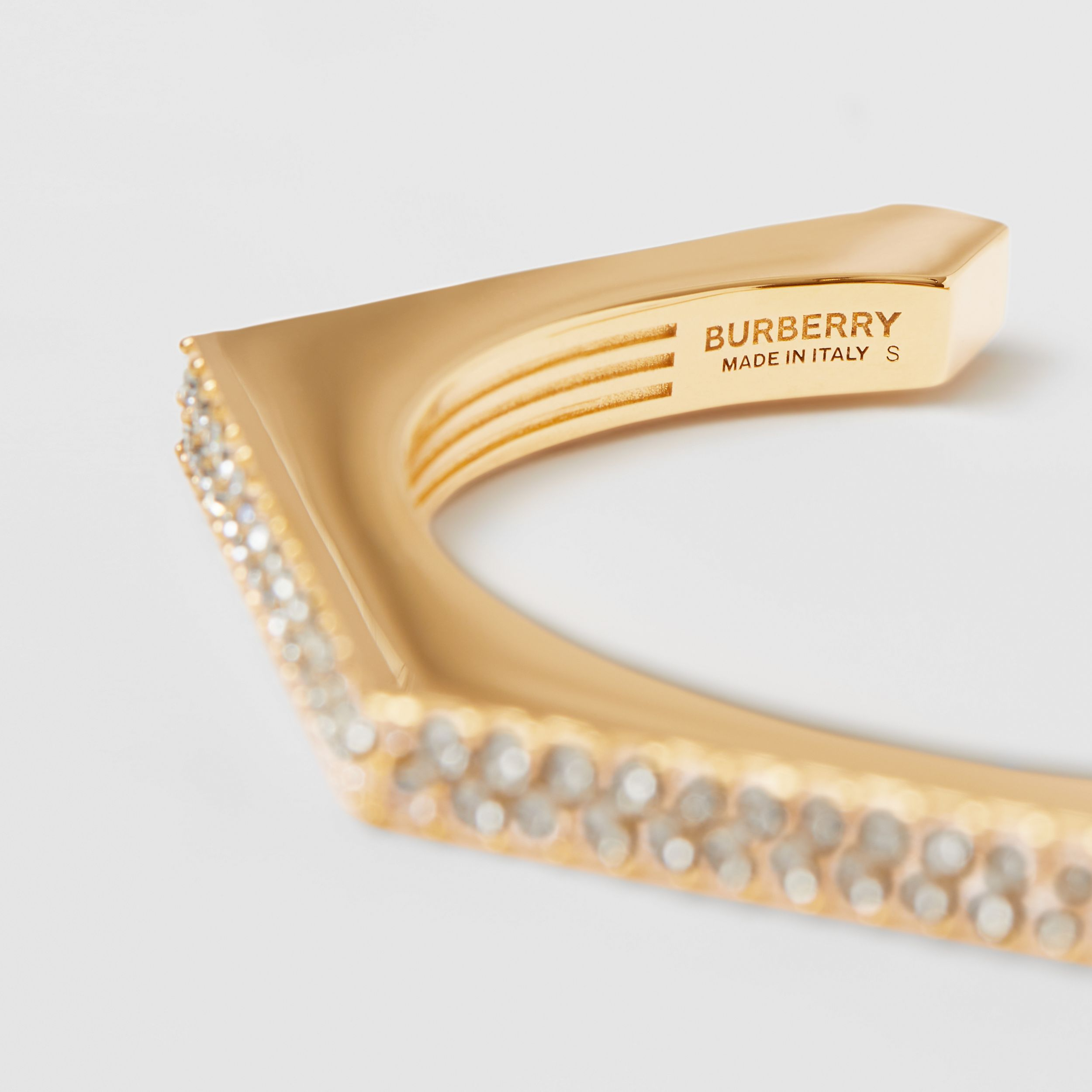 Crystal Detail Gold-plated Nut Cuff in Light Gold/crystal - Women | Burberry - 2