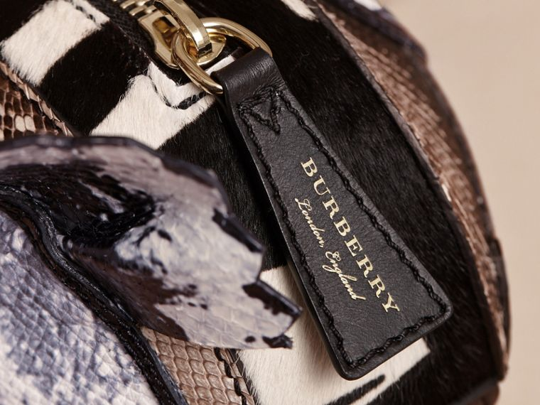 Leather and Snakeskin Pallas Head Shoulder Bag in Black/white - Women | Burberry - cell image 1