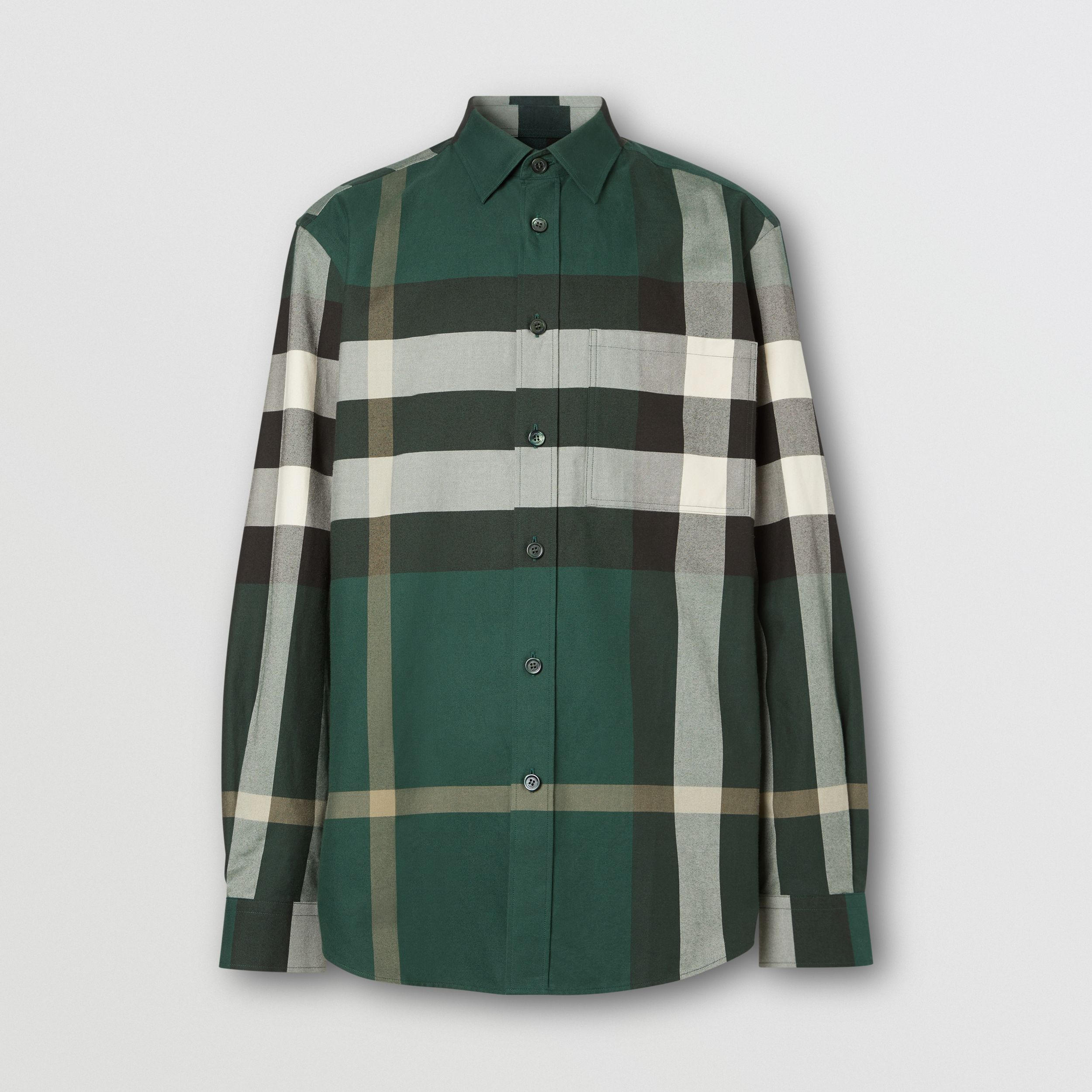 Check Cotton Flannel Shirt in Dark Forest Green - Men | Burberry - 4