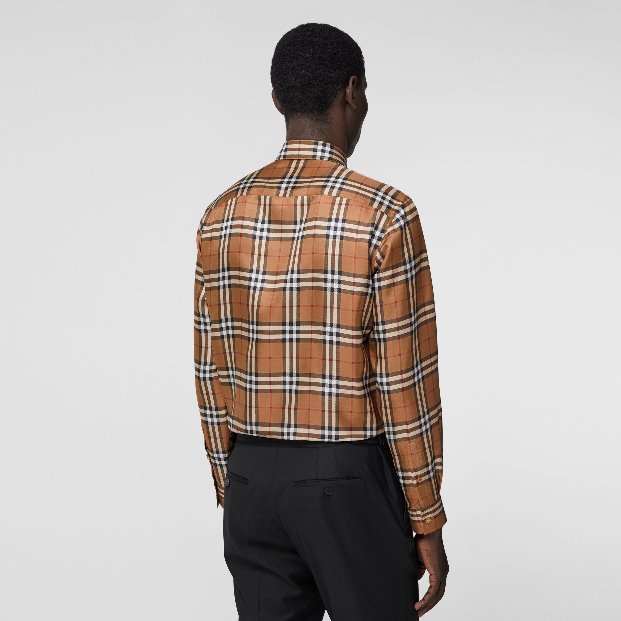 Slim Fit Vintage Check Silk Shirt in Birch Brown - Men | Burberry - 3