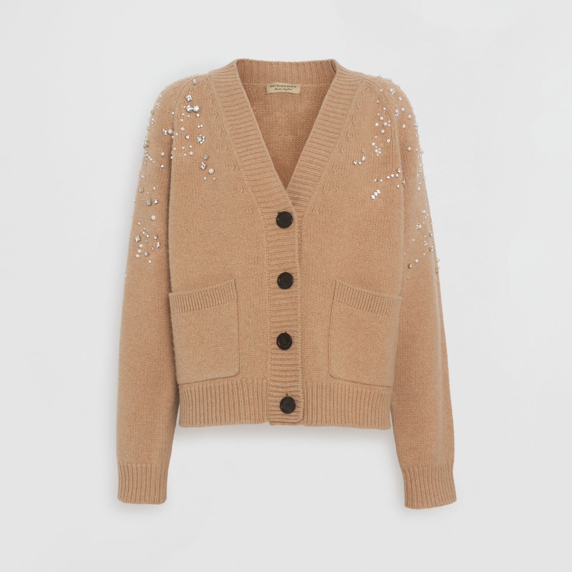 Crystal-embellished Merino Wool Cardigan in Camel - Women | Burberry - gallery image 3