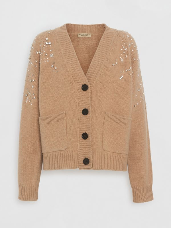 Crystal-embellished Merino Wool Cardigan in Camel - Women | Burberry - cell image 3