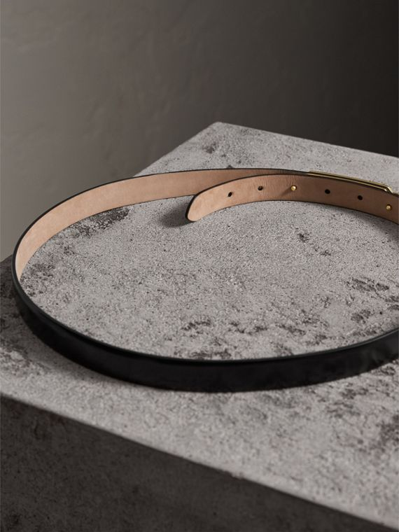 Plaque Buckle Leather Belt in Black - Women | Burberry - cell image 3