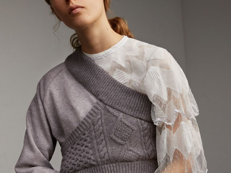Cable Knit Panel Sweatshirt Dress in Grey Melange - Women | Burberry - cell image 4