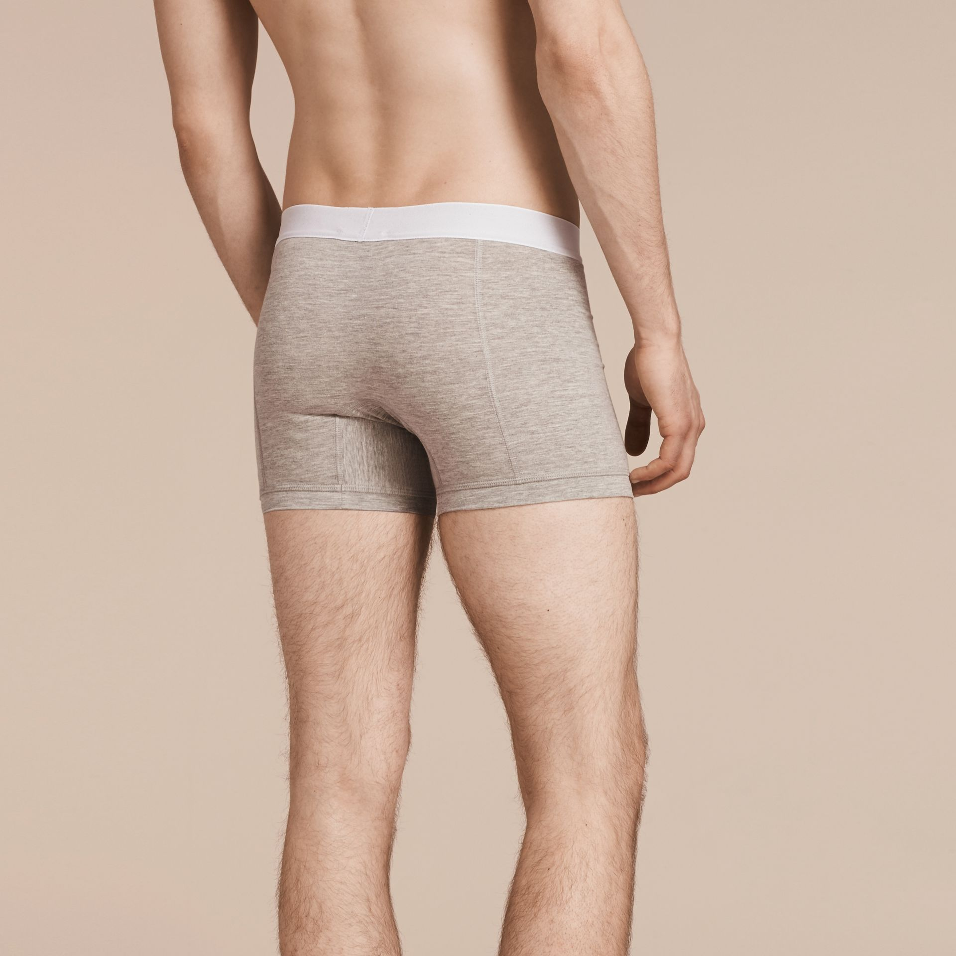 Stretch Cotton Boxer Shorts in Pale Grey Melange - Men | Burberry Singapore - gallery image 3