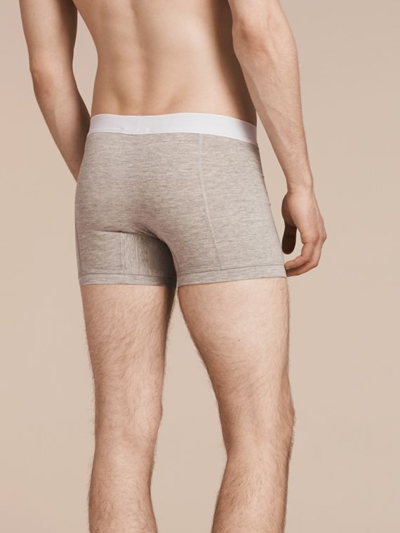 Stretch Cotton Boxer Shorts in Pale Grey Melange - Men | Burberry Singapore - cell image 2