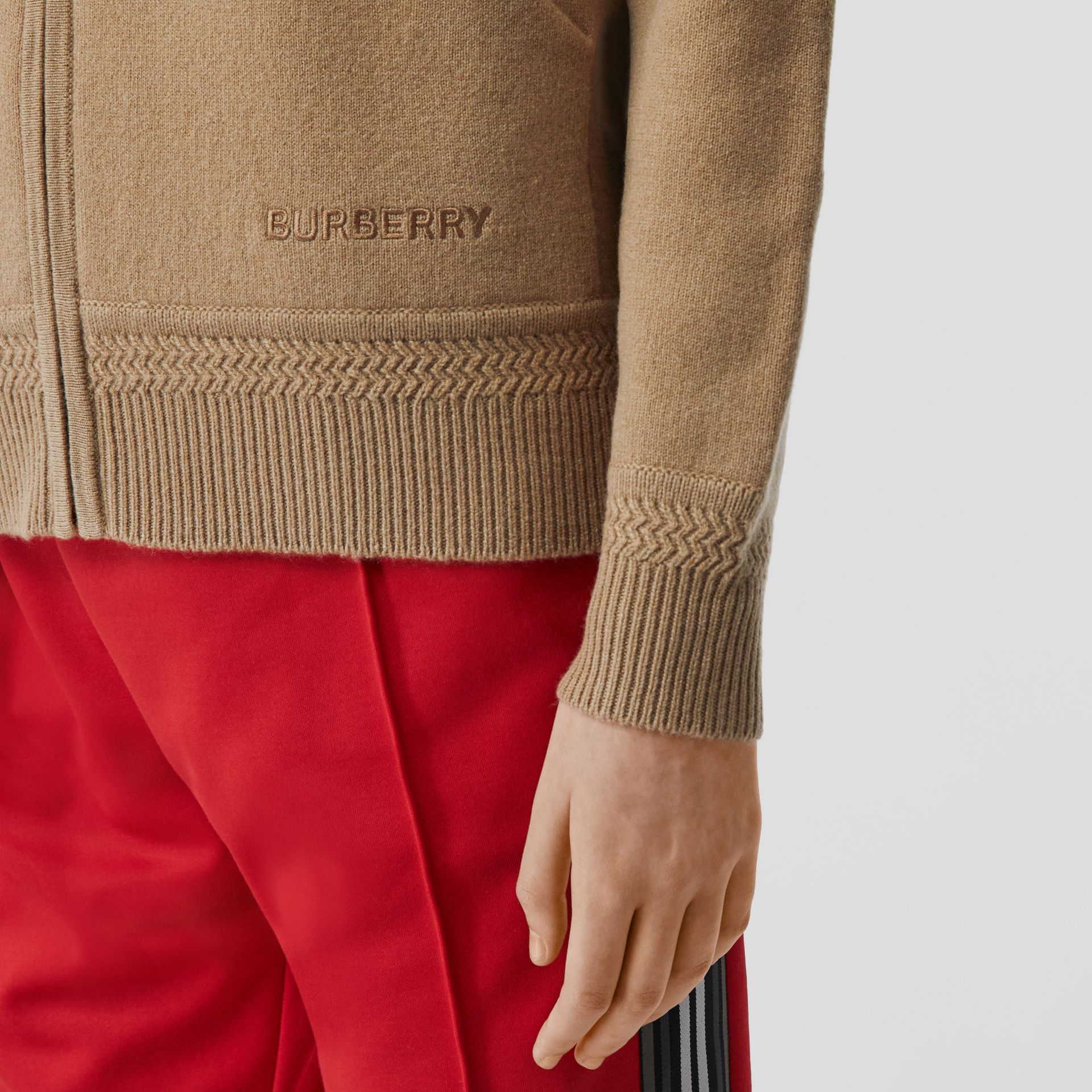 Embroidered Logo Cashmere Hooded Top in Archive Beige - Women | Burberry - gallery image 3