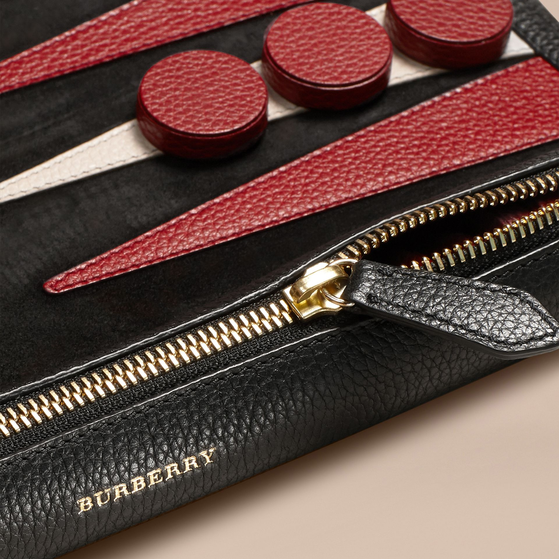 Leather Travel Backgammon Set in Black | Burberry - gallery image 2