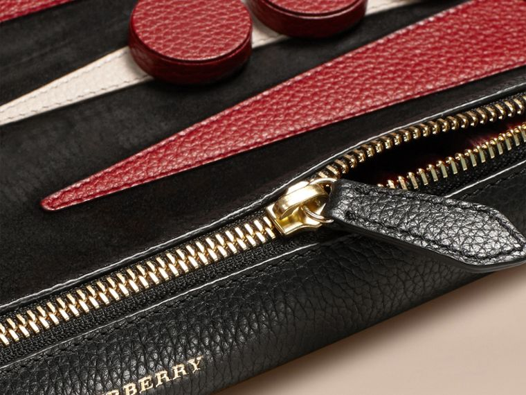 Set backgammon da viaggio in pelle (Nero) | Burberry - cell image 1
