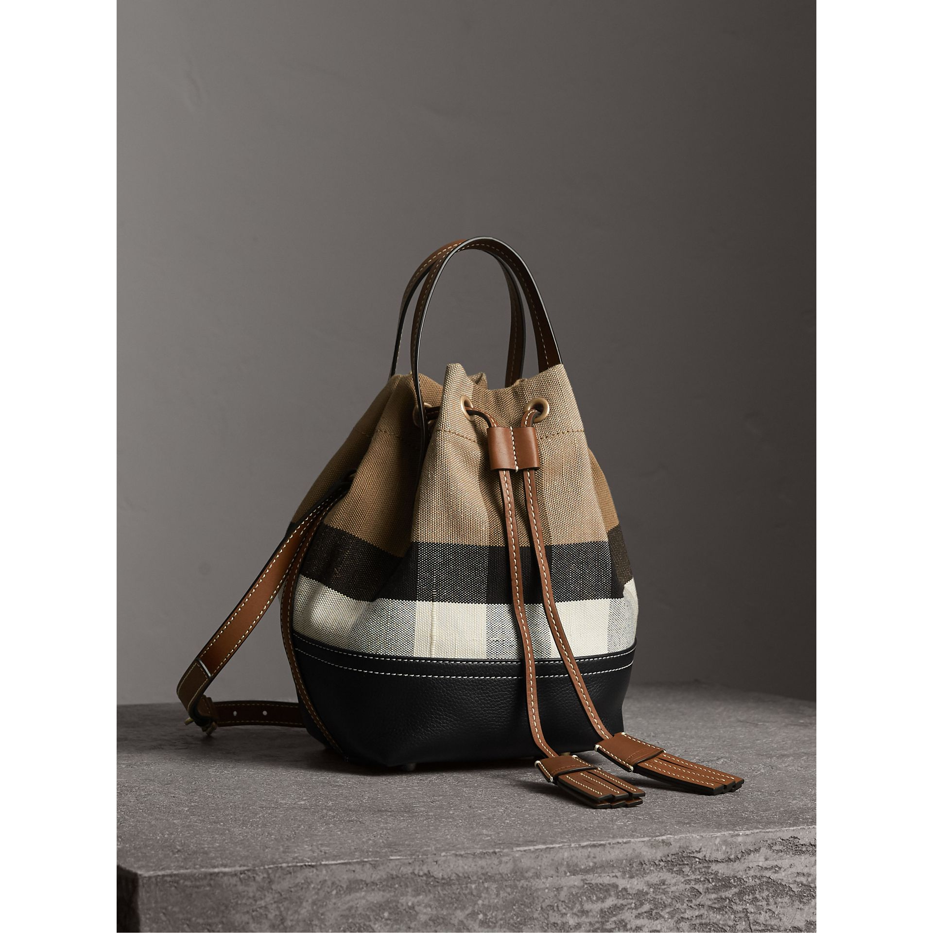 Small Canvas Check and Leather Bucket Bag in Tan - Women | Burberry - gallery image 7