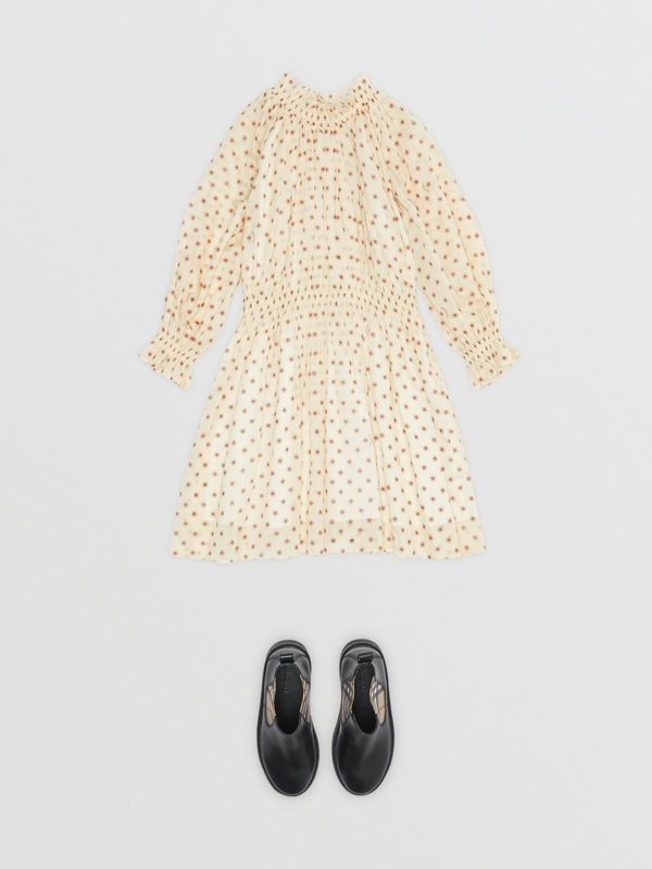 Star Print Gathered Cotton Dress in Military Red | Burberry - cell image 2