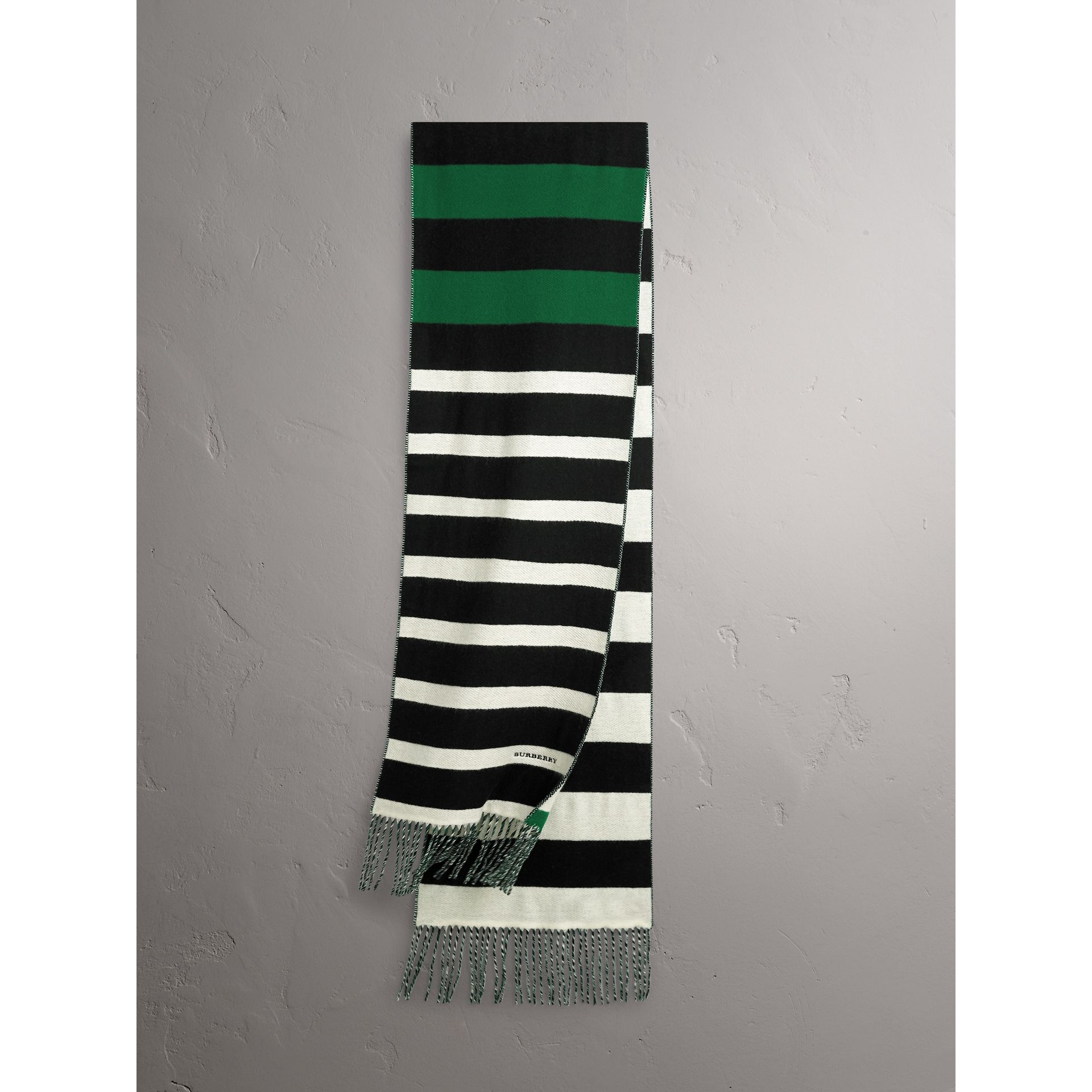 Colour-block Striped Wool Cashmere Scarf in Emerald Green/black | Burberry United States - gallery image 1