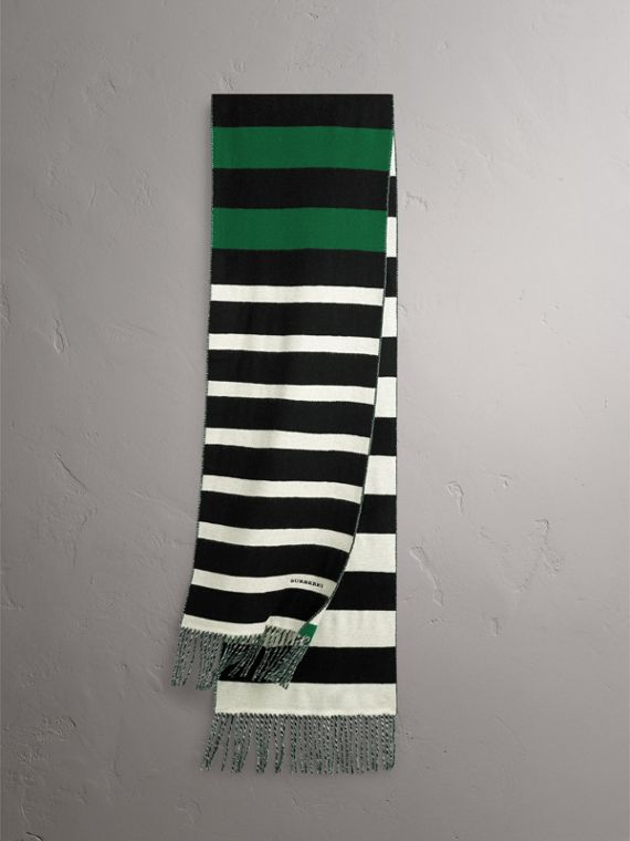 Colour-block Striped Wool Cashmere Scarf in Emerald Green/black