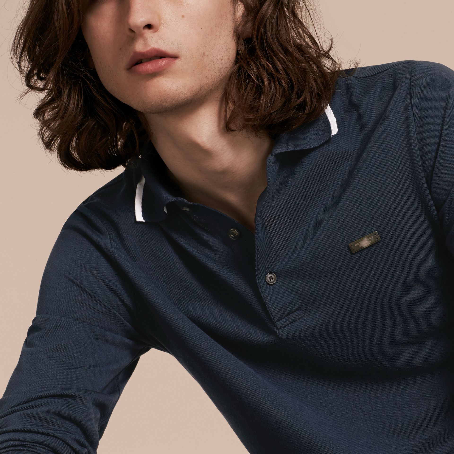 Long-sleeved Tipped Cotton Piqué Polo Shirt Navy - gallery image 5