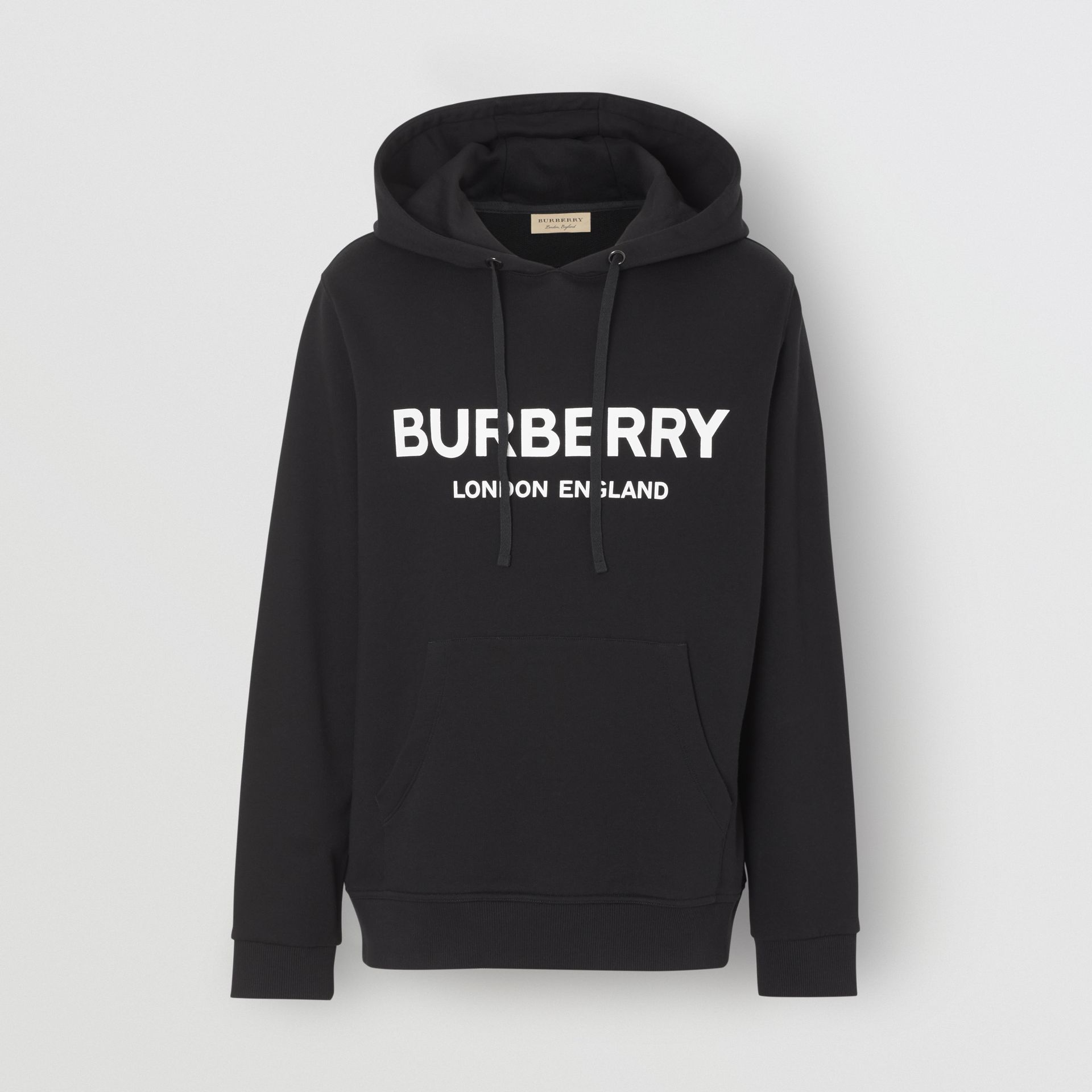 Logo Print Cotton Hoodie in Black - Men | Burberry United Kingdom - gallery image 3
