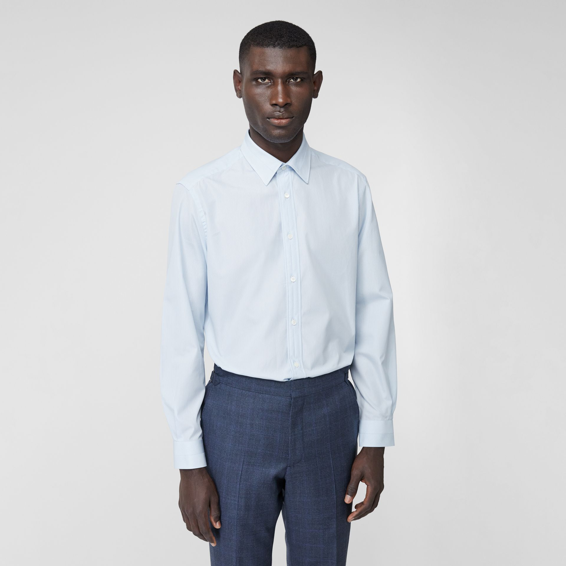 Classic Fit Striped Cotton Poplin Dress Shirt in Pale Blue - Men | Burberry - gallery image 0
