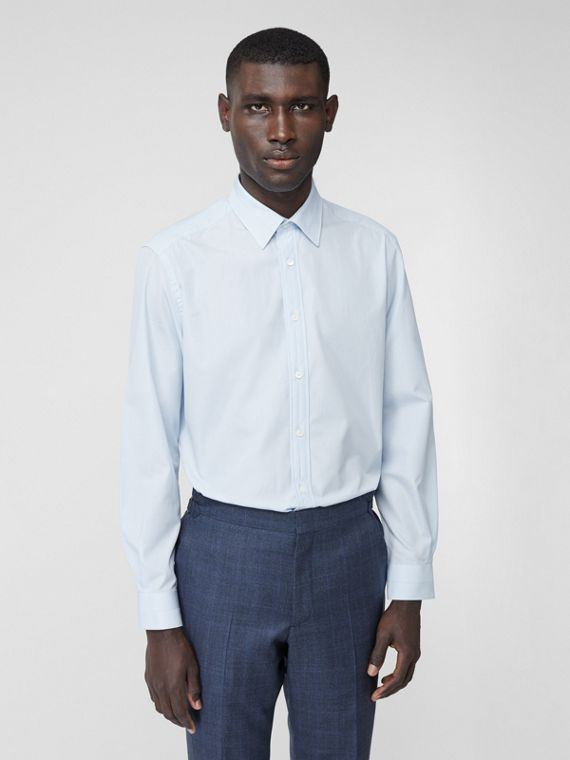 Classic Fit Striped Cotton Poplin Dress Shirt in Pale Blue