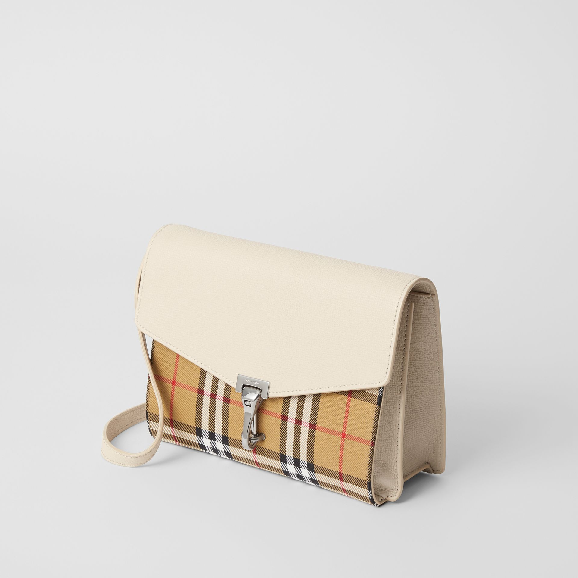 Small Vintage Check and Leather Crossbody Bag in Limestone - Women | Burberry - gallery image 3
