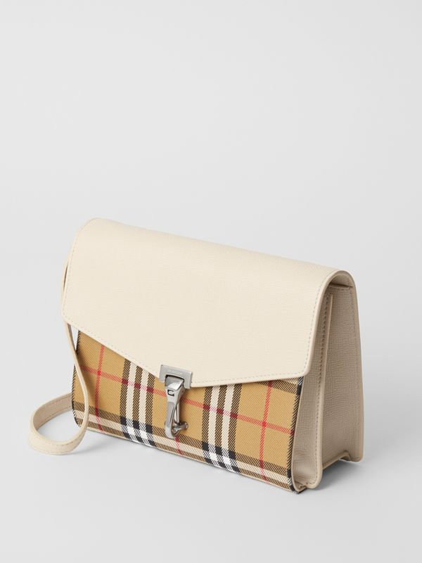 Small Vintage Check and Leather Crossbody Bag in Limestone - Women | Burberry - cell image 3