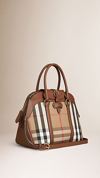 Sac bowling medium en coton House check et cuir