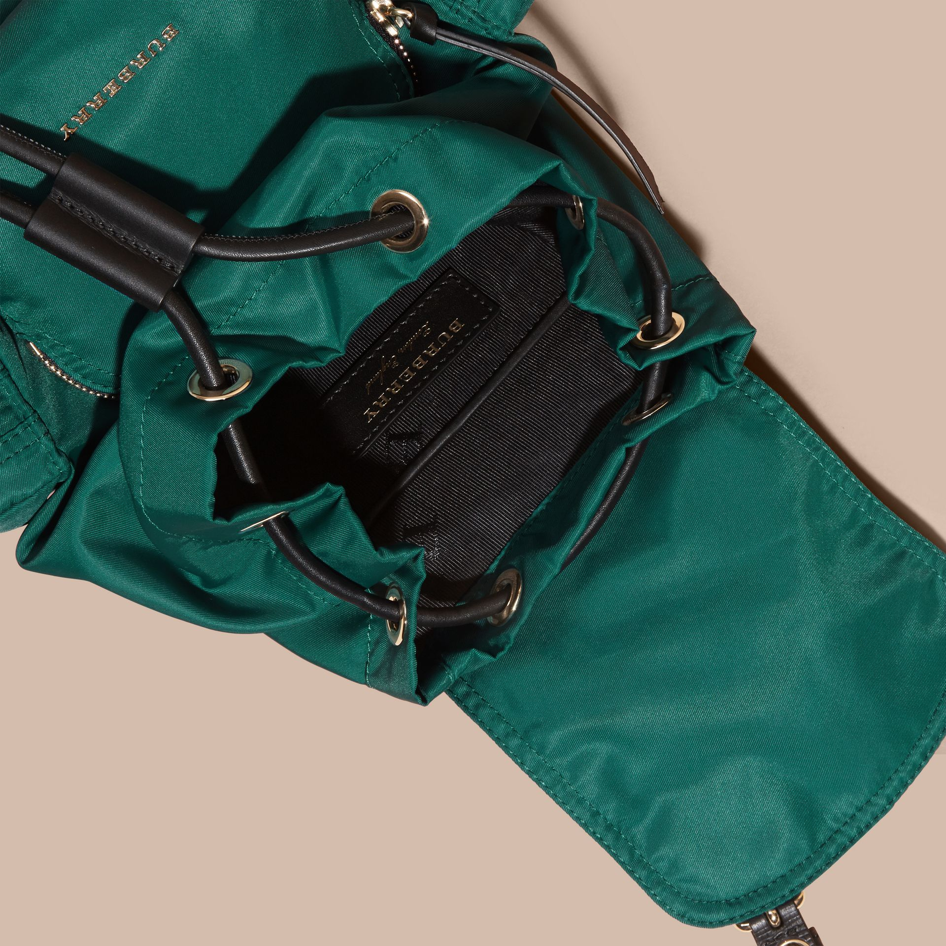 The Small Rucksack in Technical Nylon and Leather Pine Green - gallery image 5