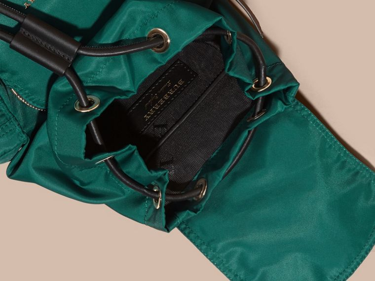 The Small Rucksack in Technical Nylon and Leather Pine Green - cell image 4