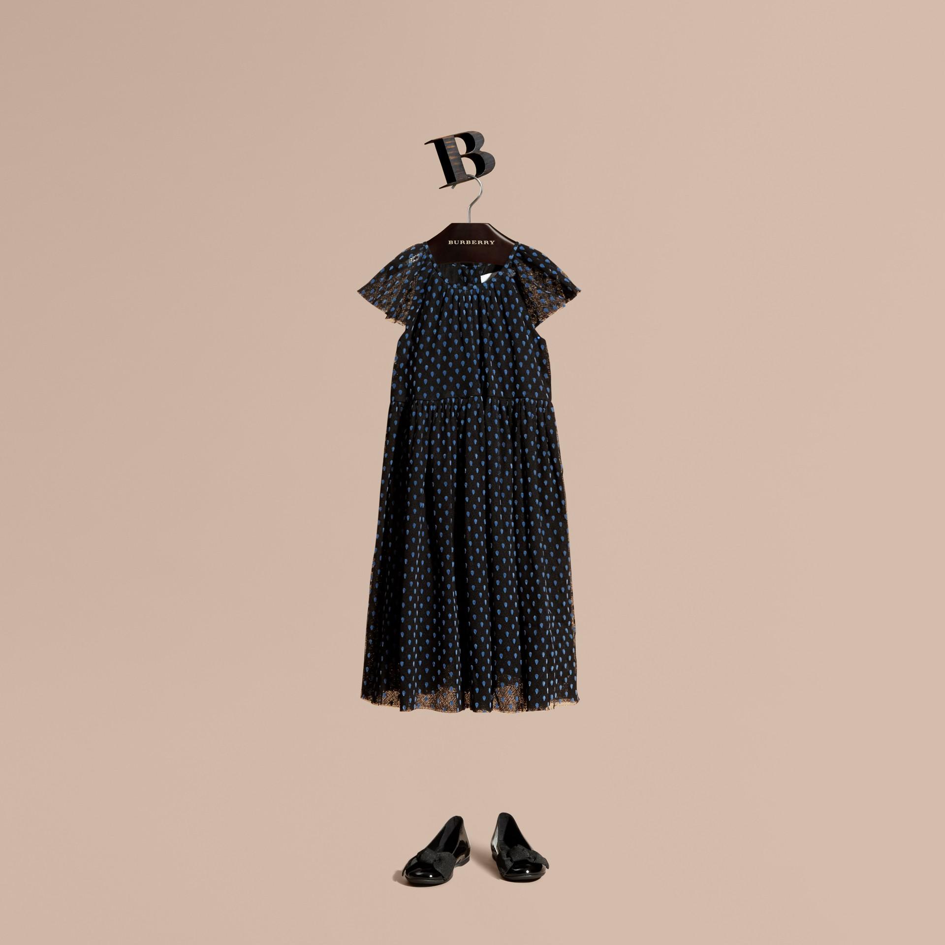 Negro Vestido de tul de algodón plisado con detalles aterciopelados - imagen de la galería 1