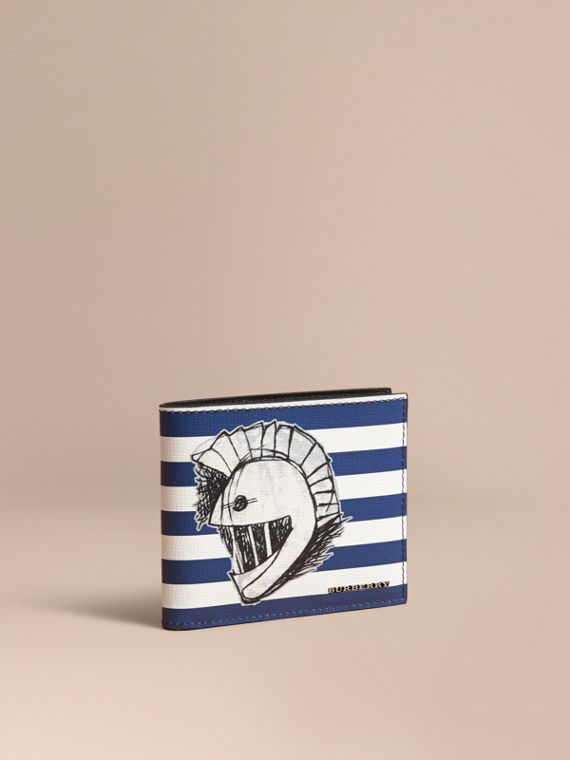 Striped London Leather Folding Wallet with Pallas Helmet Motif