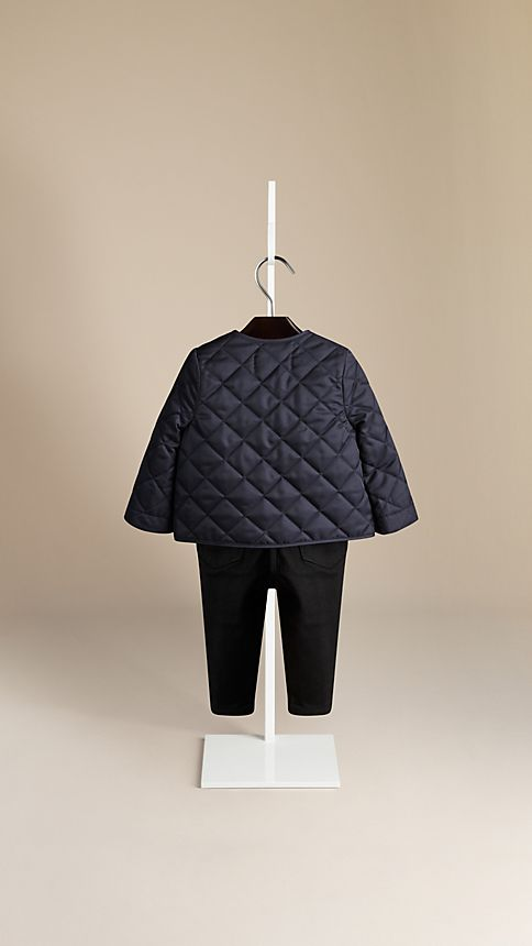 Navy Collarless Diamond Quilted Jacket Navy - Image 2
