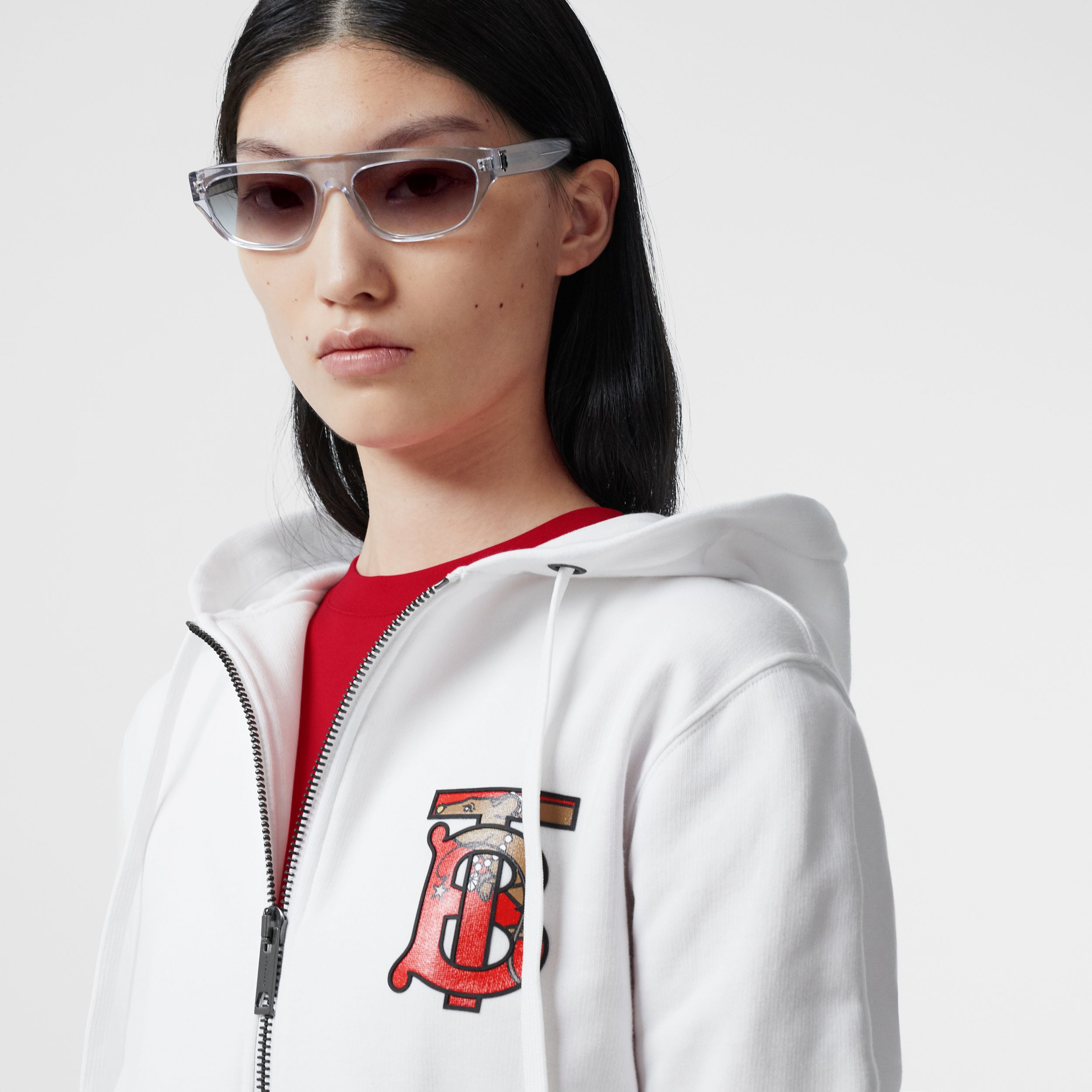 Monogram Motif Cotton Oversized Hooded Top in White - Women | Burberry - 2