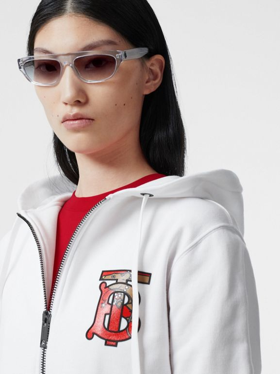 Monogram Motif Cotton Oversized Hooded Top in White - Women | Burberry Canada - cell image 1
