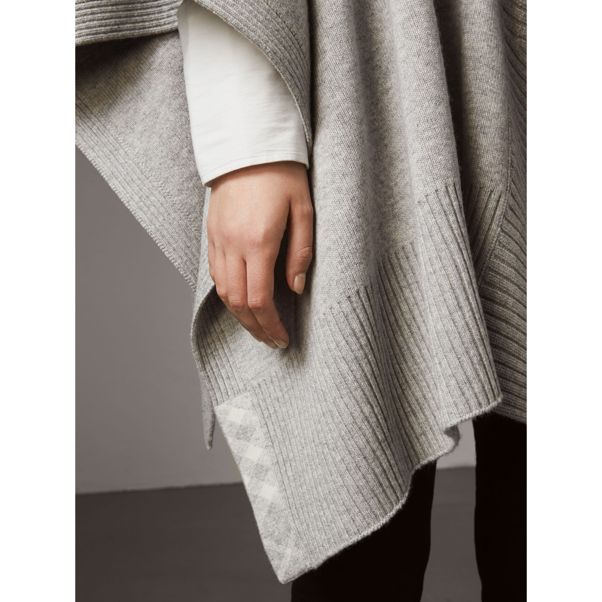 Shawl Collar Wool Cashmere Poncho in Mid Grey Melange - Women | Burberry Australia - gallery image 4