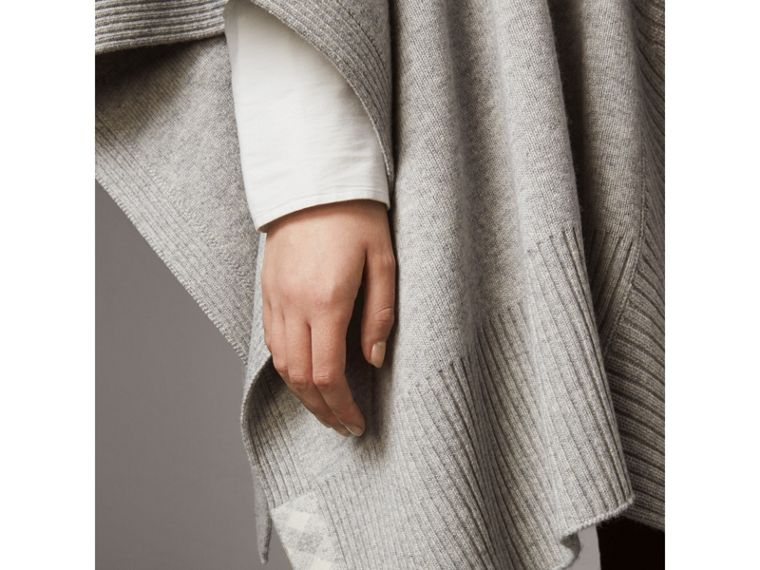 Shawl Collar Wool Cashmere Poncho in Mid Grey Melange - Women | Burberry Australia - cell image 4