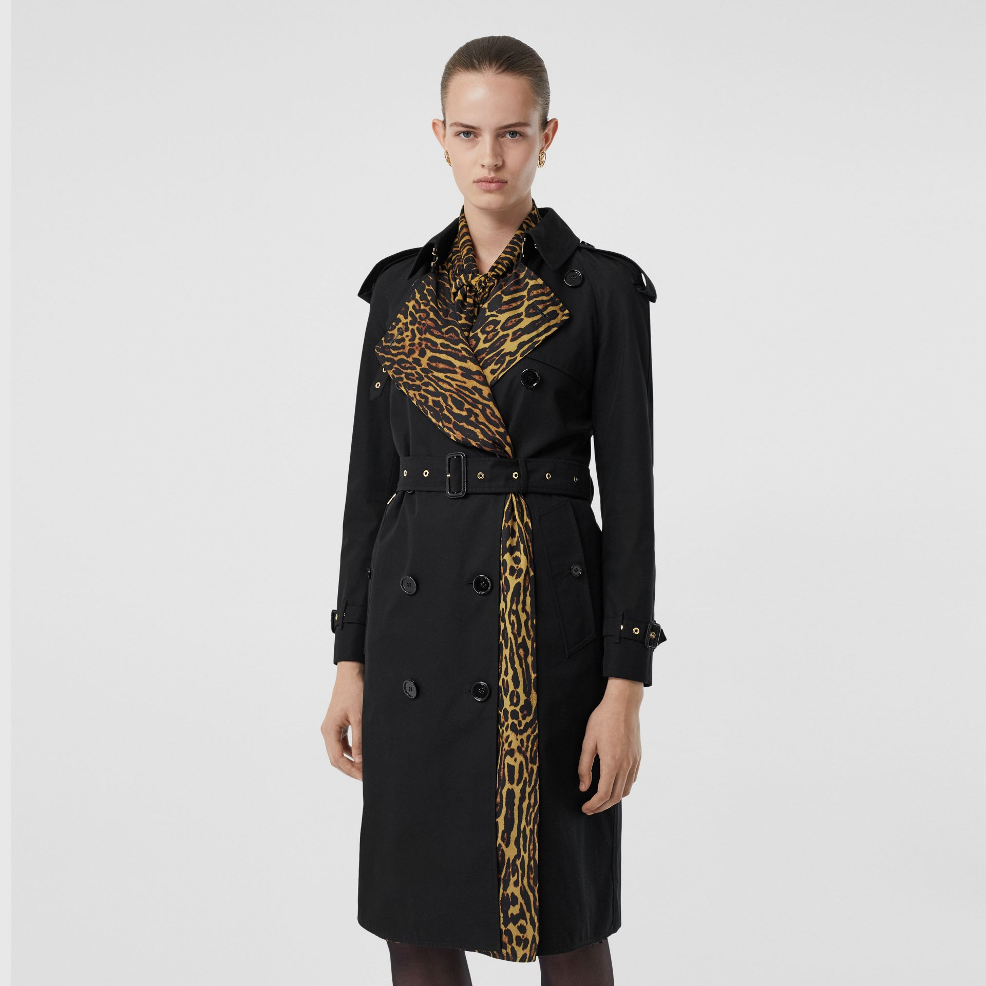 Leopard Print-lined Cotton Gabardine Trench Coat in Black - Women | Burberry Singapore - gallery image 6