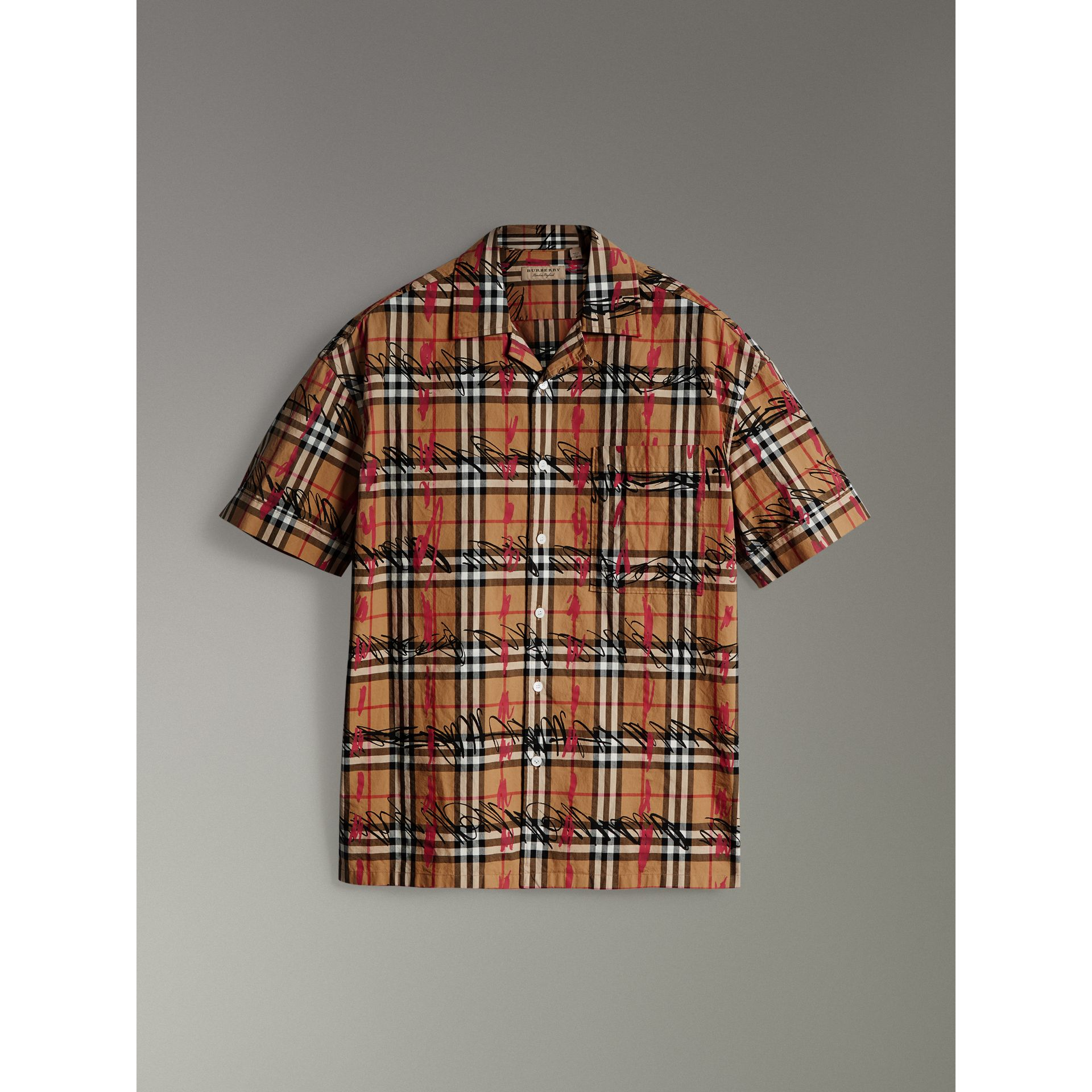 Short-sleeve Scribble Check Cotton Shirt in Antique Yellow - Men | Burberry United Kingdom - gallery image 3