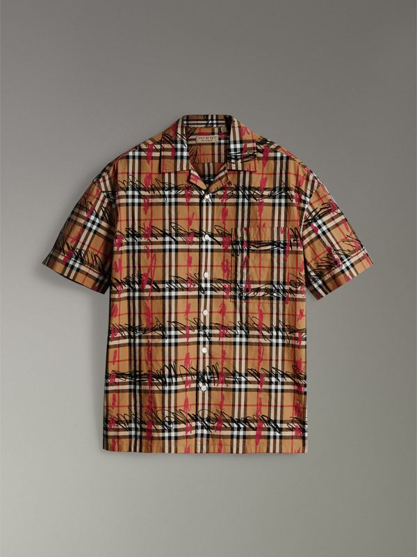 Short-sleeve Scribble Check Cotton Shirt in Antique Yellow - Men | Burberry United Kingdom - cell image 3