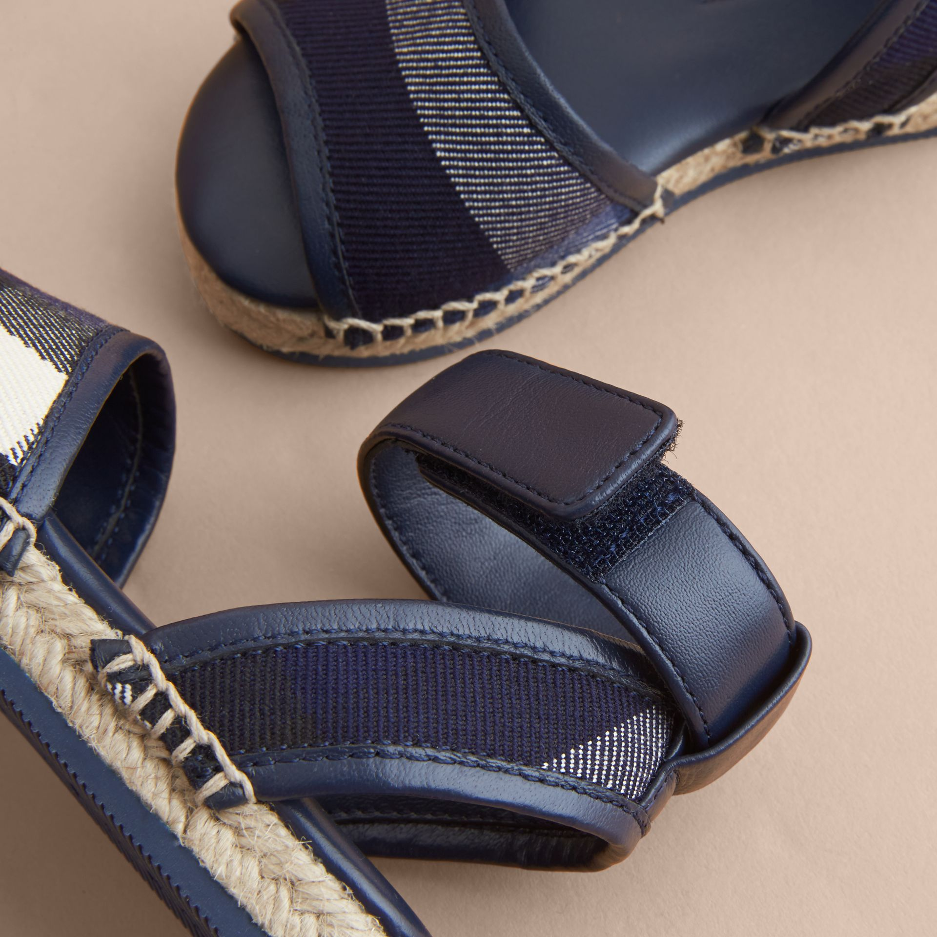 Leather Ankle Strap and House Check Espadrille Sandals in Bright Sapphire - Children | Burberry - gallery image 2